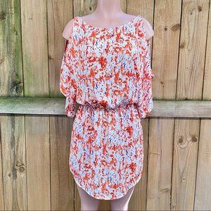 Bloomingdales Aqua Cold Shoulder Mini Dress EUC